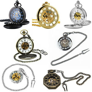 Vintage Skeleton Steampunk Pocket Watch Men Vintage Gold Black Silver Mechanical