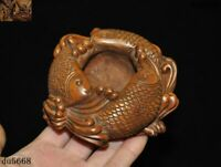 Antiques Chinese Boxwood Wood carved lucky animal fish Goldfish Pen wash Statue