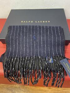 Polo Ralph Lauren Men's Black Virgin Wool Pinstripes Scarf BNWT In RL Box