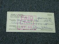 Jesse Haines Signed Autographed Cancelled Check