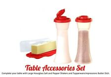 Tupperware Salt and Pepper Hourglass Shakers with Butter Dish, Poppy