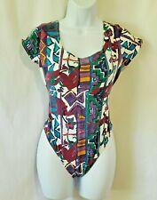Vintage Art Deco Leotard One Piece Bodysuit Cotton Knit High Leg Brief Usa S / M