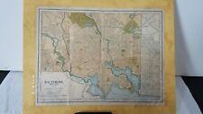 Copyright 1903 Antique BALTIMORE Map Vintage Map of Baltimore Maryland MOUNTED