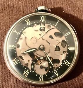 1940s Swiss Girard Perregaux Shell Oil Co Promo Skeleton Pocket Watch
