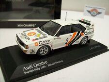 "Audi Quattro #2 ""Sweden rally"" 1984, blanco, Eklund/Whitlock, Minichamps 1:43, embalaje original"