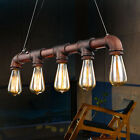 Industrial Steampunk Water Pipe Pendant Light Edison Bulb Pub Lamps Chandeliers
