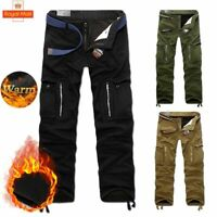 Winter Men Warm Fleece Lined Thick Pants Cargo Combat Work Trouser Mutli Pockets