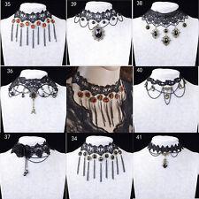 Women Gothic Neck Burlesque Lace Victorian Choker Steampunk Necklace HH