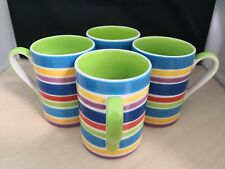 Whittard Of Chelsea Hand-painted Set 4 Mugs Striped Stripy Green & Blue