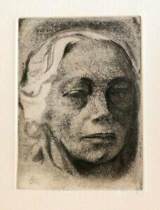 Kathe Kollwitz Original Etching, 1912. Self Portrait. Von der Becke Series.