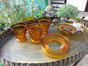 FabulousJob Lot Art Deco Amber Pressed Glass Glasses, Bowl & Posy Ring