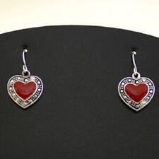 Red Heart Faux Marcasite Valentine Love Pretty Pierced Dangle NWT Earrings #347
