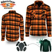 Bikers Gear Kevlar® Lined Flannel Lumberjack Motorcycle Shirt Orange & Black