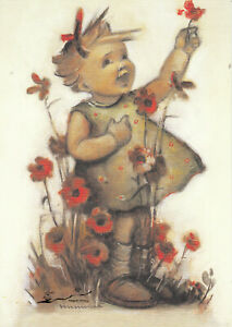 Kunstkarte: Hummel - Ich gratuliere / Kind mit Blumen