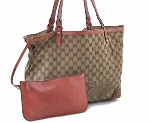 Authentic GUCCI Shoulder Tote Bag GG Canvas Leather 247209 Brown Pink E0946