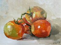 Tomato, original oil painting a day, still life fruit, signed, framed, 5x7, 2020