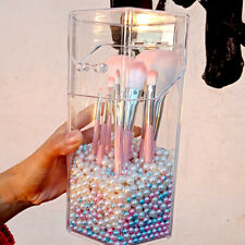 Transparent Acrylic Makeup Brush Holder Cosmetic Box Organizer With Cover Pearls