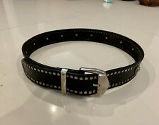 Vintage Gianni Versace Versus silver studded black belt 90s, Made In Italy