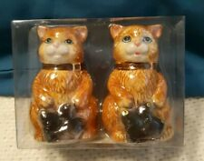 """GKR Dolomite Cats Salt And Pepper Shaker Set 3 1/2"""" Sitting With Fish ☆Free Ship"""