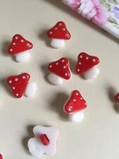 10 Pcs 15mm Red mushroom patterns plastic buttons (98)