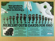 1980 Mercury Outboard Engines 19 Models Lineup black max 225 hp vintage print Ad