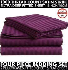1000TC Egyptian Cotton King Fitted+Flat Sheet+2 PillowCase Bundle Plum