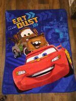 Disney Pixar Cars Fleece Throw Blanket  55 x 42 3D Eat Dust, Clean Vibrant Color