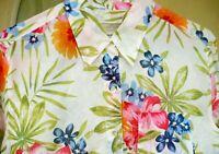 LIZ CLAIBORNE M L PINK BLUE HAWAIIAN FLORAL BUTTON UP ROLL SLEEVE BLOUSE WOMEN
