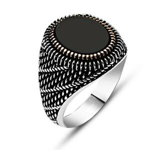 Black Onyx Bronze Embroidered 925 Sterling Silver Ring gmss