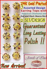 22k 23k 24k 6 Pcs Set of Wholesale Lot Indian Earring Studs in AD Meena