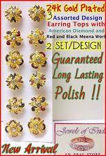 22k 23k 24k 6 Pcs Set of Wholesale Lot Indian Earring Studs in AD Meena