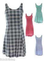 Size 6 8 10 12 14 16 New Check Print Polka Skater Sleeveless Dress Ladies LICK