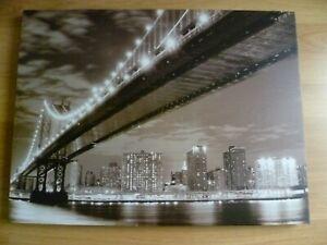 "Brooklyn Bridge At Night New York City Skyline Canvas Print  Wall Art 32x24"""