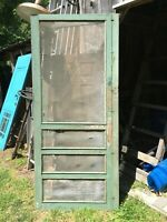"""TALL vintage screen door Victorian age Green paint 78"""" x 31.5"""" x 3/4"""" solid"""