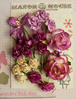 16 ROSES, 2 CARNATIONS & 1 LILLY - 19 Flowers PURPLE & CREAM - PAPER 15-45mm H23