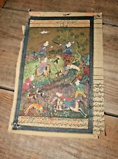 Old PERSIAN MANUSCRIPT Painted MINIATURE MUGHAL CALLIGRAPHY Book Art