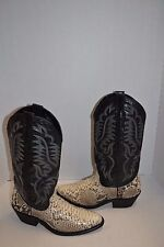 Laredo Men's 8 D Key West R Toe Genuine Python Cowboy Western Boots Black 6751