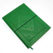 Fair Trade Handmade Large Green Embossed Leather Journal 2nd Quality