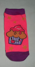 PINK PURPLE CUPCAKE PRINT & STRIPE LowCut Socks Girls Sock Sz 4-8.5 Shoe Sz 7-13
