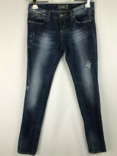 Rerock Express Womens size 6 Blue Jeans Skinny Leg Destroyed Medium Wash Denim