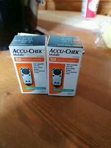 New In 2 Boxes ACCU-CHEK Mobile Cassettes. 100 Test Strips