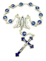 Blue Enamel Silver Tone Miraculous Mary Our Lady of Grace One Decade Bead Rosary