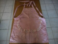 PINK FULL APRON WITH POCKETS AND LACE  TIE AND NECK AND WAIST   (NEW)
