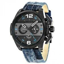 NEW DIESEL IRONSIDE  BLACK TONE,TAN LEATHER+PATCHED BLUE DENIM BAND WATCH DZ4397