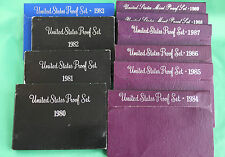 1980 Thru 1989 TEN US Mint Annual Proof Sets 50 Coins 10 Complete Sets