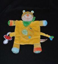 Peluche doudou chat plat NICOTOY jaune feuille bandana vert attache tétine NEUF