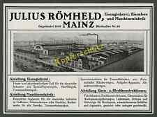 Jul. Römheld Eisengießerei Montan Fabrik Rheinallee Feldbahn Mainz-Weisenau 1916