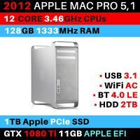2012 Mac Pro 12-Core 3.46GHz 128GB RAM 1TB PCIe SSD GTX 1080Ti WiFi AC USB 3.1