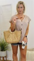 NWT Women's Medium Casual Button Down Blouse Tee Usa Made BOUTIQUE TOP
