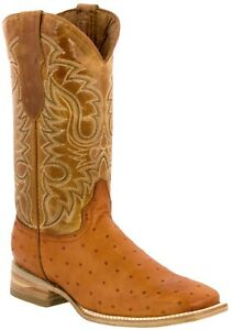 Mens Mango Cowboy Boots Real Leather Pattern Ostrich Quill Western Square Toe